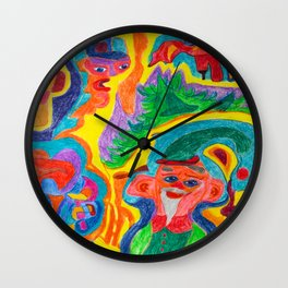One of Santa's Elfs goes to a Halloween Party Wall Clock