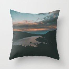Columbia River Gorge Sunset Throw Pillow