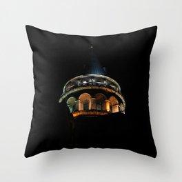 Galata Tower in the dark Throw Pillow