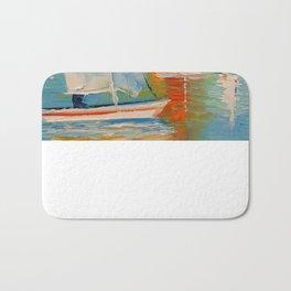 Sailboats on the river Bath Mat
