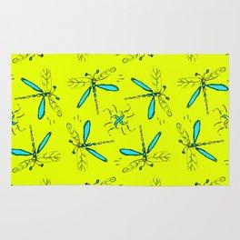 Turquoise Dragonflys On Yellow Back Rug