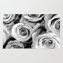 Black and White Roses Rug