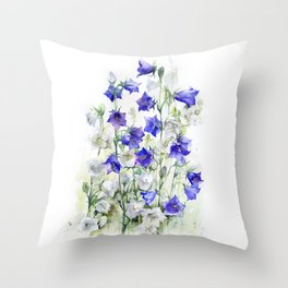 Bluebells watercolor flowers, aquarelle bellflowers Throw Pillow