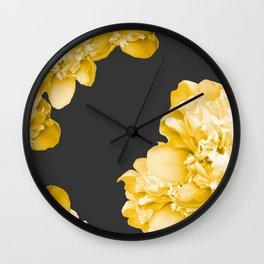 Yellow Flowers On A Dark Background #decor #society #homedecor Wall Clock