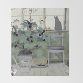 Indoor Garden With Fig Tree Throw Blanket