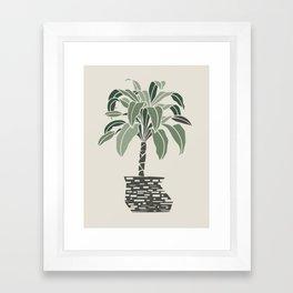 Minimal pot palm Framed Art Print