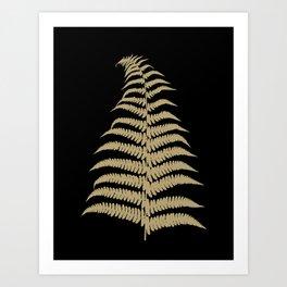 Fern Leaf Gold on Black #1 #ornamental #decor #art #society6 Art Print