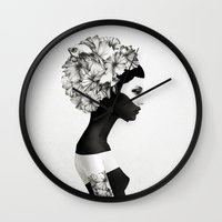 black Wall Clocks featuring Marianna by Ruben Ireland