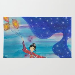 Japanese Geisha in Kimono with Flying Lanterns in the Sky Rug