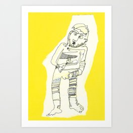 yellow cut Art Print