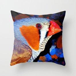 Zebra Finch Painted Throw Pillow