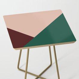 Burgundy and Green Geometric Side Table