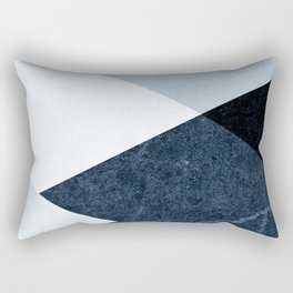 Geometrics II - blue marble & silver Rectangular Pillow