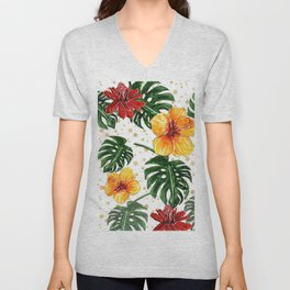 Tropical Leaves with Hibiscus and Red Flower Unisex V-Neck