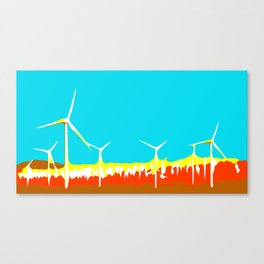 wind turbine in the desert with blue sky Canvas Print