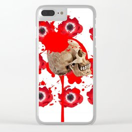 BLACK BLOODY RED EXPLODING BLOOD POPPIES SKULL ART Clear iPhone Case
