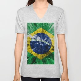 Extruded flag of Brazil Unisex V-Neck