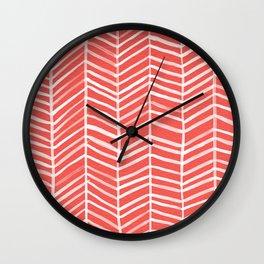Coral Herringbone Wall Clock