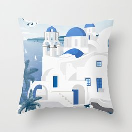 Vintage Santorini poster Throw Pillow