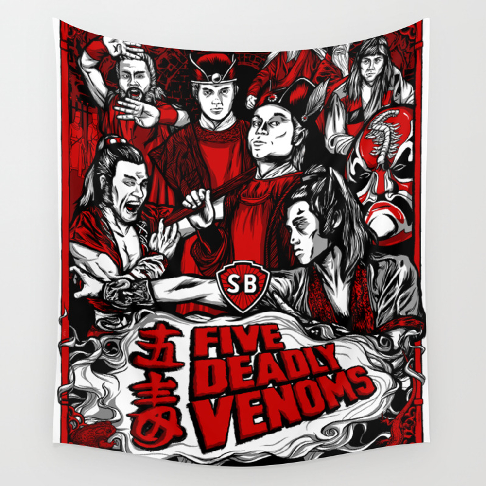 Five Deadly Venoms Movie Poster Wall Tapestry by Legendaryweapons TPS7696440
