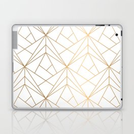 Geometric Gold Pattern With White Shimmer Laptop & iPad Skin