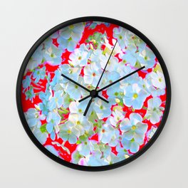BLUE TINGED WHITE PHLOX FLOWERS RED Wall Clock