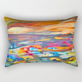 My Village | Colorful Small Mountainy Village Rectangular Pillow