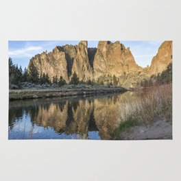 Reflection of Smith Rock in Crooked River Rug