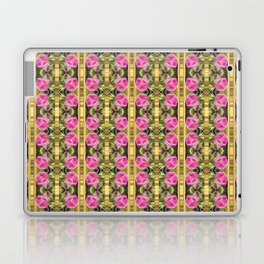 Pink roses with golden stripes pattern Laptop & iPad Skin