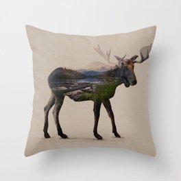 The Alaskan Bull Moose Throw Pillow