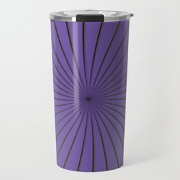 3D Purple and Gray Thin Striped Circle Pinwheel Digital Illustration - Artwork Travel Mug