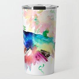 Hummingbird , Blue Turquoise Pink Travel Mug