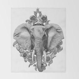 Elephant & Poppies  Throw Blanket