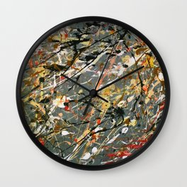 Jackson Pollock Interpretation Acrylics On Canvas Splash Drip Action Painting Wall Clock