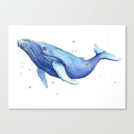 Humpback Whale Watercolor Animal Painting Nursery Animals Canvas Print