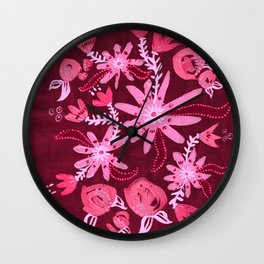 Cranberry Nocturne Rose Wall Clock