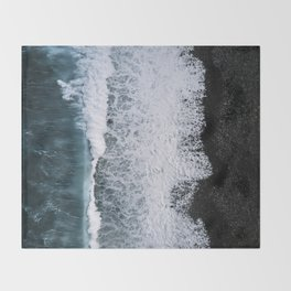Aerial of a Black Sand Beach with Waves - Oceanscape Throw Blanket
