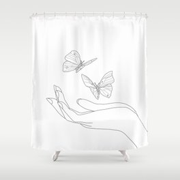 Butterflies on the Palm of the Hand Shower Curtain