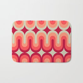 70s Geometric Design - Pink and Red Swoops Bath Mat