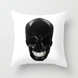 Skull Black Low Poly Throw Pillow