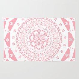 Dusky Pink Frosted Flower Mandala Rug
