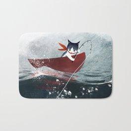 """Catfish"" - cute fantasy cat mermaids illustration Bath Mat"