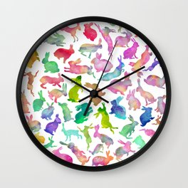 Watercolour Bunnies Wall Clock