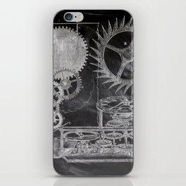 black and white vintage patent print chalkboard steampunk clock gear iPhone Skin