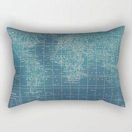 Grunge World Map Rectangular Pillow