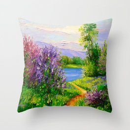 Lilac bloom on the river Throw Pillow