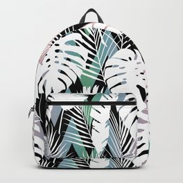 Blush pink green white hand painted tropical leaves chevron Backpack