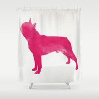 terrier Shower Curtains featuring Boston Terrier by Three Black Dots
