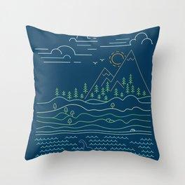 Outdoor solitude - line art Throw Pillow