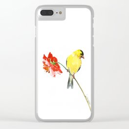 American Goldfinch and Red Flower Clear iPhone Case